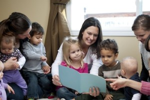 Mothers of preschoolers group with their children